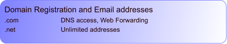 Domain Registration and Email addresses .com			DNS access, Web Forwarding .net 			Unlimited addresses